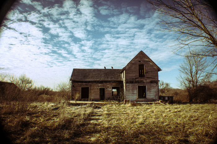 3. This photo was also taken in Jennings County. What was creepy about this house is the fact those two big birds flew out of the house and sat on top of it while the photographer was taking the picture!