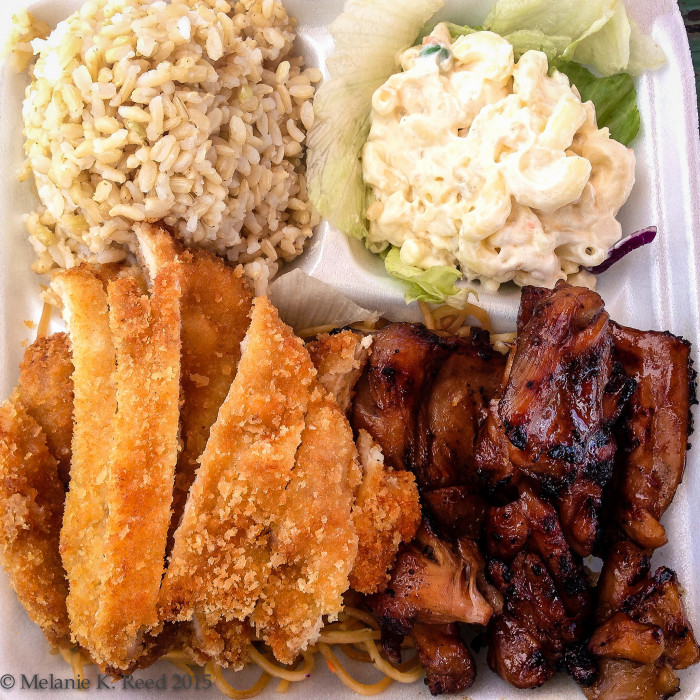 9) A plate lunch is a specific meal consisting of two scoops of rice, an entrée, macaroni salad, and sometimes a generous helping of gravy.