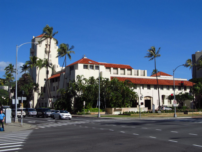 9) Honolulu Hale (City Hall) was constructed in 1929, in a Spanish Mission Revival style, which was popular at the time.