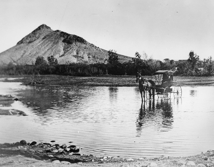 """9. Back in 1870, this is what the Salt River north of Tempe looked like. That's Hayden Butte (or """"A"""" Mountain) in the background."""