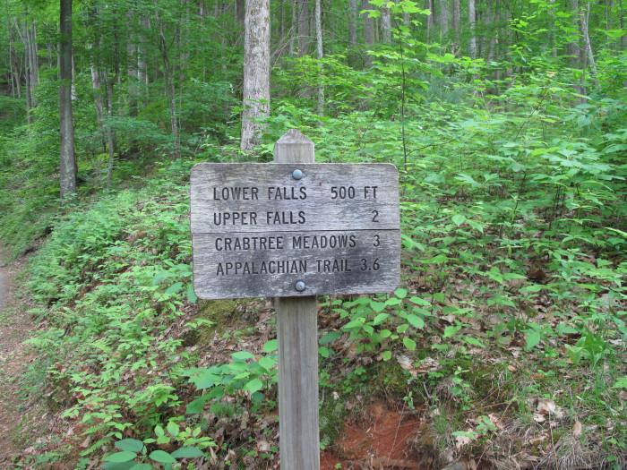 Crabtree Falls sign