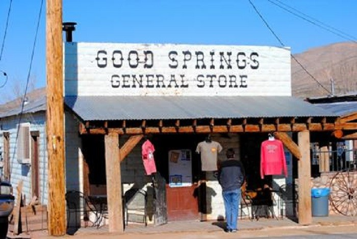 7. Good Springs General Store is located next to the Pioneer Saloon in Goodsprings, Nevada.  At one time, Good Springs General Store was Goodsprings Cafe, a restaurant that served many hungry miners during the mining boom days.