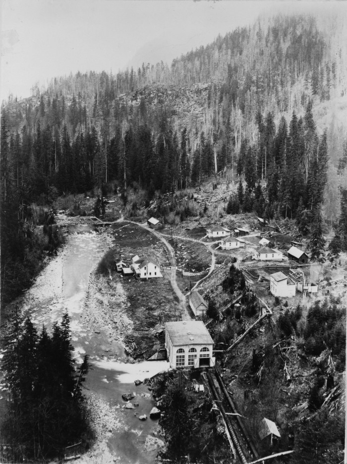 14. A breathtaking aerial view of Nooksack Falls Hydroelectric Power Plant in Whatcom County, around 1906.