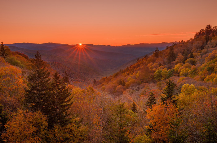 3) Or catch the Oconaluftee Valley at sunset
