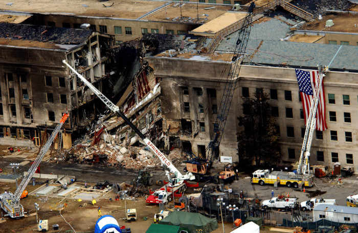 10. September 11, 2001: 60 years to the day after ground was first broken for the Pentagon, five hijackers overtook American Airlines Flight 77 and crashed it into the building, killing all 64 passengers, as well as 125 people inside.