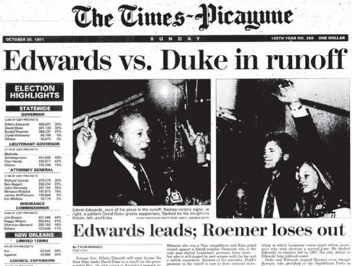 Nov. 16th, 1991 – Edwin Edwards defeats David Duke
