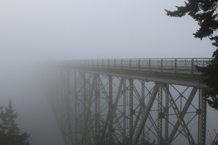 10. Driving across the Deception Pass bridge on this foggy day was surely a nightmare.