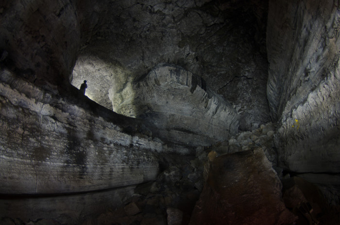 12. A peculiar perspective in the Ape Lava Tube Caves.