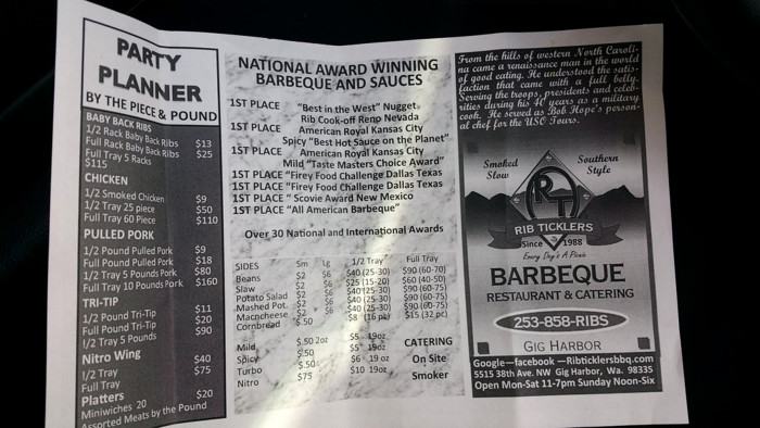 13. Rib Ticklers Barbeque, Gig Harbor