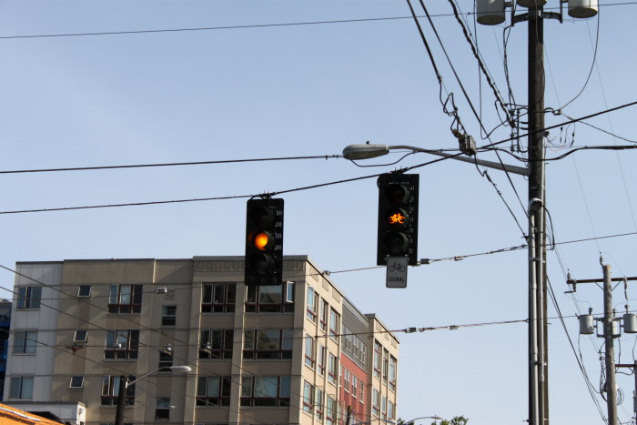 5. Slowing down at a yellow light.