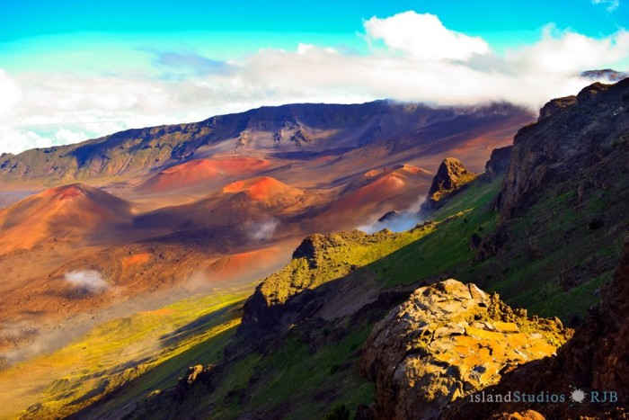 "1)  ""Haleakala on Maui is a hiker's paradise. The sheer vastness and wildness of it, the silence, the unearthly shapes and colors can guarantee you an unforgettable peak experience no matter what time of year you go,"" Island Studios."