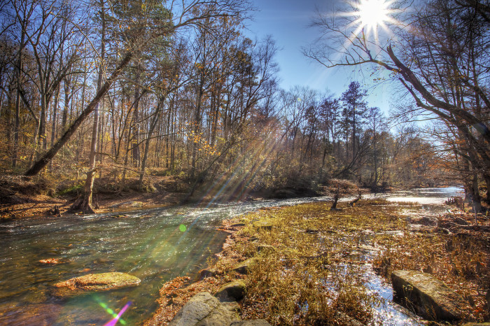 10. A breathtaking shot of a glistening Bear Creek in Tishomingo State Park.