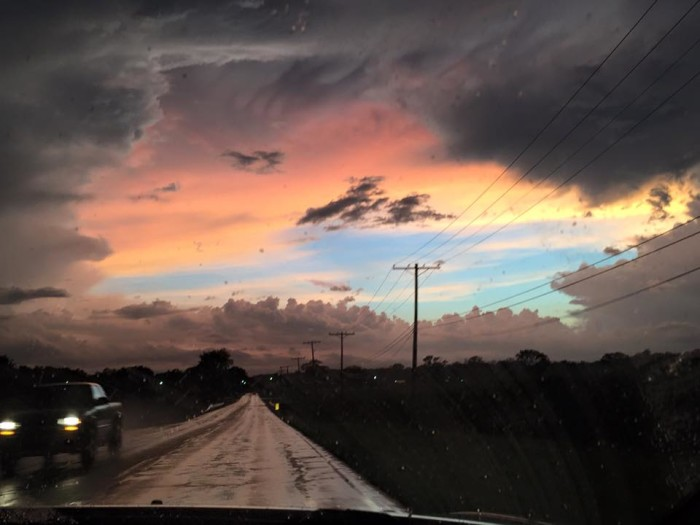 3. Aimee Burnett Caldwell snapped a dark picture of the sky and road while driving through Edinburg!