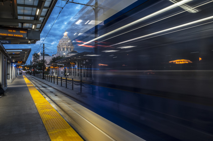 12. Can you spot the train leaving in this photo from the Capitol/Rice St. light rail station?