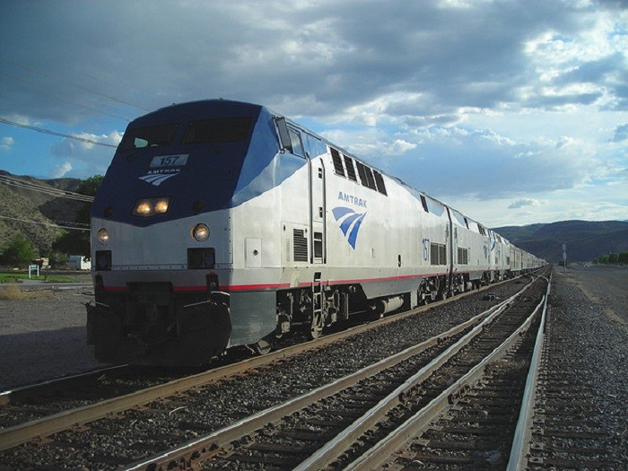 6. The Amtrak American Orient Express Train #157 is pictured here in Caliente, Nevada.