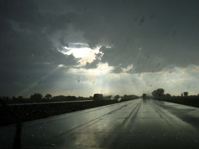 If it's not too bad a storm, take a drive. The drops falling on the roof of the car make such a lovely sound.