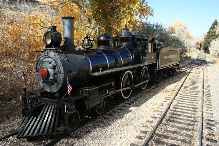 9. This beautiful steam engine is on display at the Nevada State Railroad Museum.