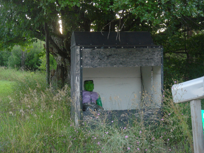10) Frankenstein standing guard at this small shelter in Manton, Mich.
