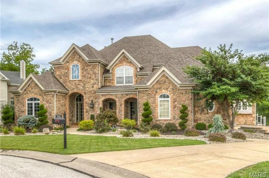 3. 706 Wycliffe Place Ct, Chesterfield, MO 63005.  $709,000 will get you this amazing 5 bedroom, 4.5 bathroom home with custom millwork, great room with a wall of windows, fireplaces, wet bar with wine cooler and a deck opening up to a fenced yard with a gazebo, as well as a 3-car garage.  The total living space is 4,706 square feet!