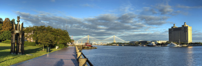 6. ..Swoop low to view the clouds Over Talmadge Bridge in Savannah....