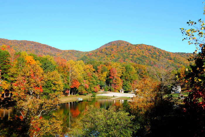 10. ...Traveling further into the North Georgia Mountains we'll experience a cool fall view from the balcony of a resort in the North Georgia Mountains...