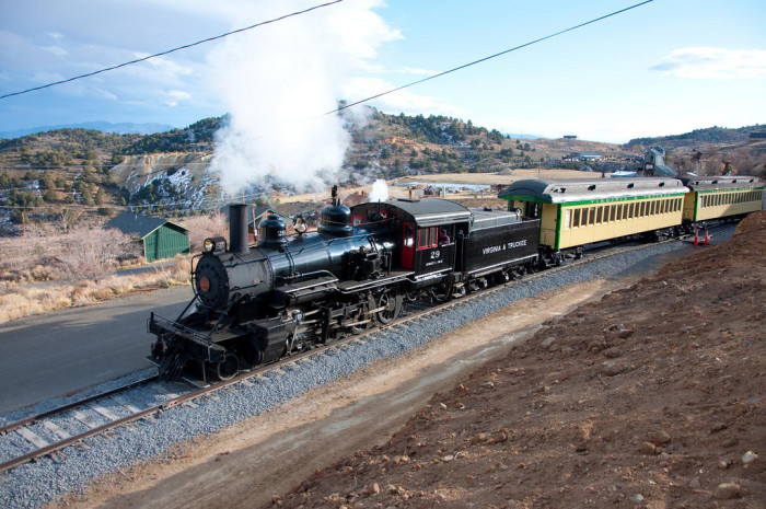 10. The Virginia & Truckee Railway Engine #29 travels from Carson City to Virginia City.