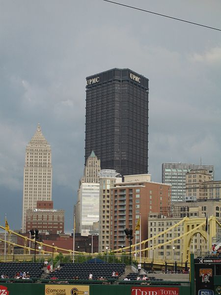 6. The top of the U.S. Steel Tower in Pittsburgh