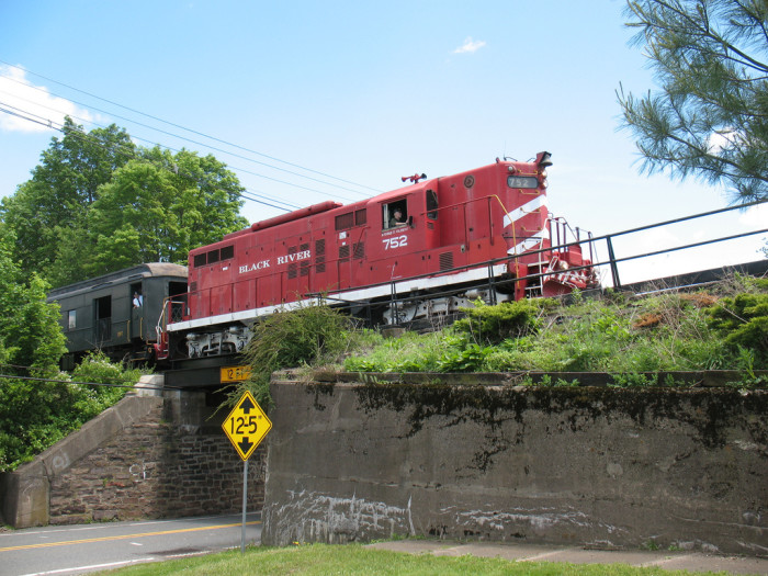 """8. A Black River and Western train running through Ringoes. BR&W offers scenic train tours throughout Hunterdon County along with themed rides like """"The Great Train Robbery""""!"""