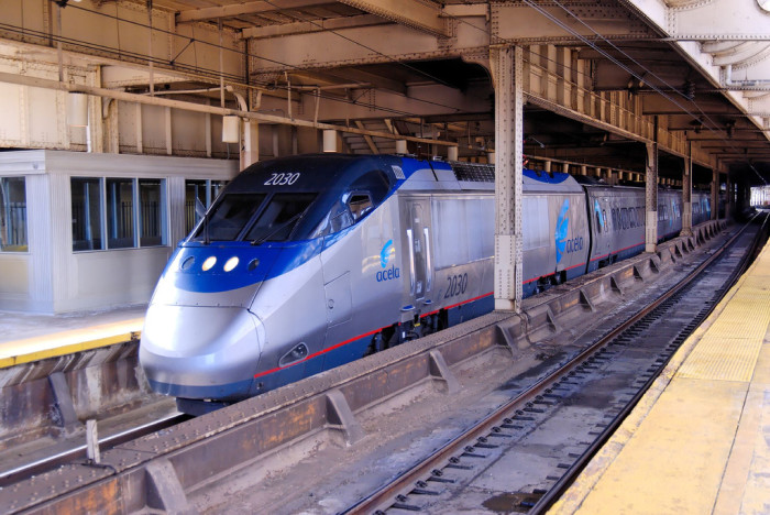 10. This Acela express train was snapped waiting in Newark Penn Station. These long distance trains can reach speeds of 150 miles per hour. The line runs between Boston and Washinton DC, stopping in major cities along the way.