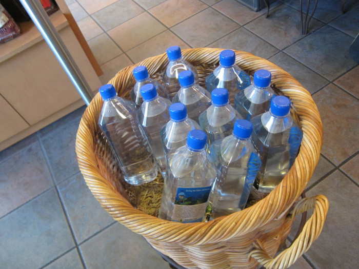 5) A case (or five) of water in the closet for hurricane season.