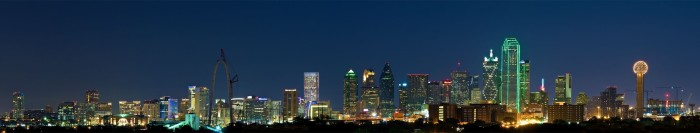 1) What a breathtaking panoramic view of the night sky lit up by Dallas' skyscrapers!