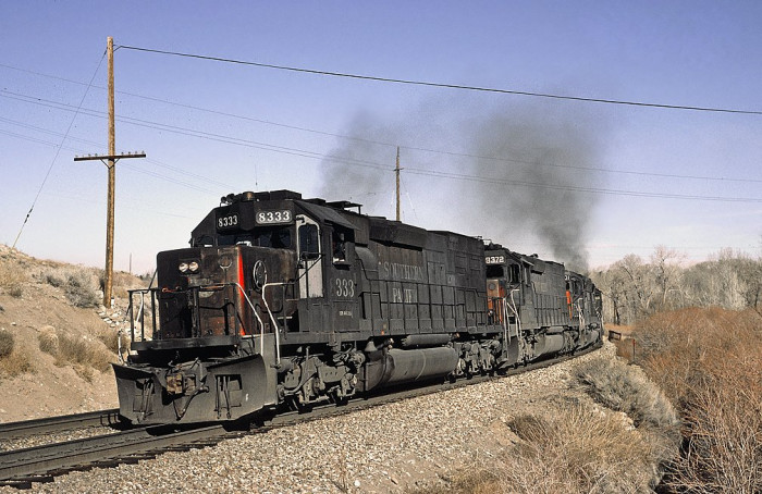8. Southern Pacific #8333 is pictured here heading west out of Reno, Nevada.