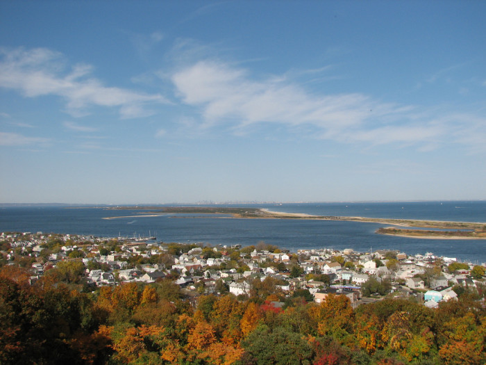 6. View of Sandy Hook from the Twin Lights in Highlands. You can see New York City in the distance.