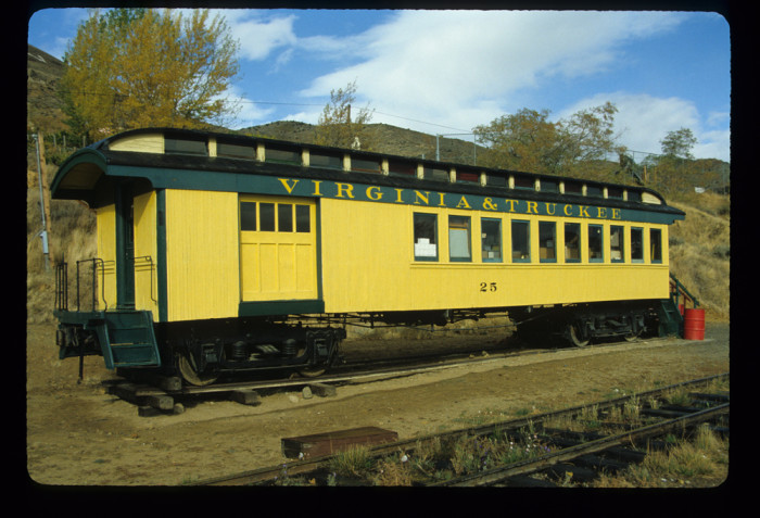 7. This Virginia & Truckee passenger car is on display at the Nevada State Railroad Museum.