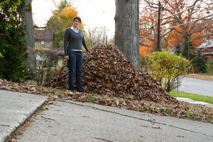 5. You consistently rake huge piles of leaves, like this.
