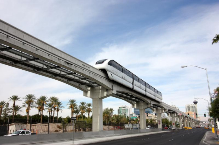 12. Pictured here is a monorail as it travels through the Las Vegas Strip. It saves tourists miles of walking.