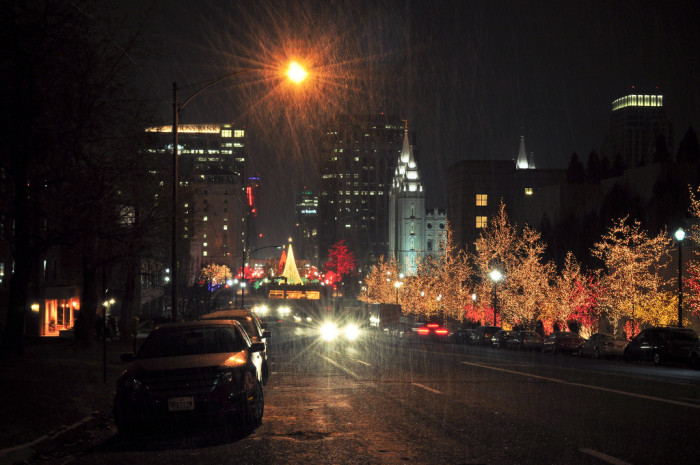 11) Driving on South Temple After Dark in December