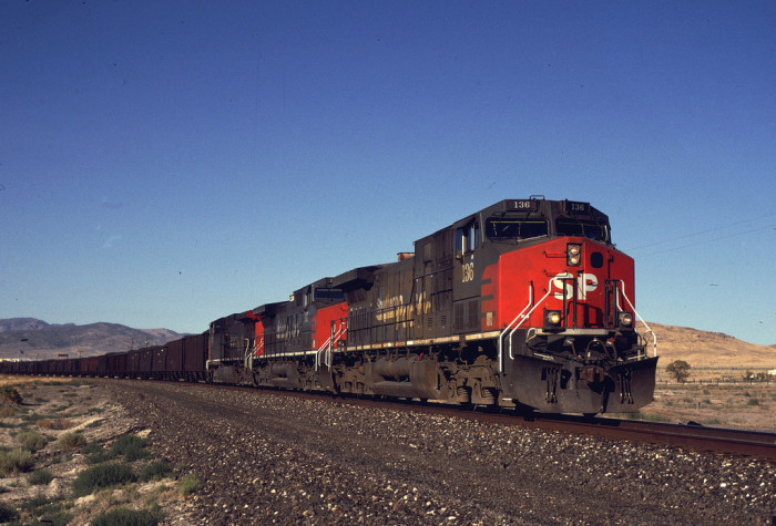 11. Southern Pacific #136 is seen here approaching Imlay, Nevada.