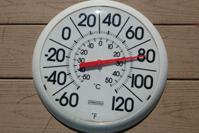 9. The temperature begins to drop.