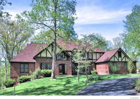 8. 1100 Kangaroo Ct, Wildwood, MO 63005.  Sitting on more than 2 wooded acres, this 4,729 square foot home has 5 bedrooms, 6 bathrooms, a great room with truss-beamed cathedral ceiling and a full masonry fireplace.  You also get a finished lower level and a beautiful deck with an in-ground pool!