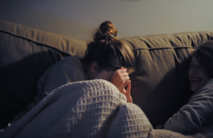 9. Cuddle up with a scary movie.