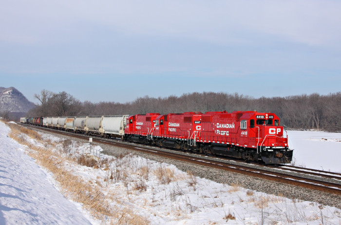10.  4418, 4447 and 4450 in Minnesota City looking amazing against the snow!