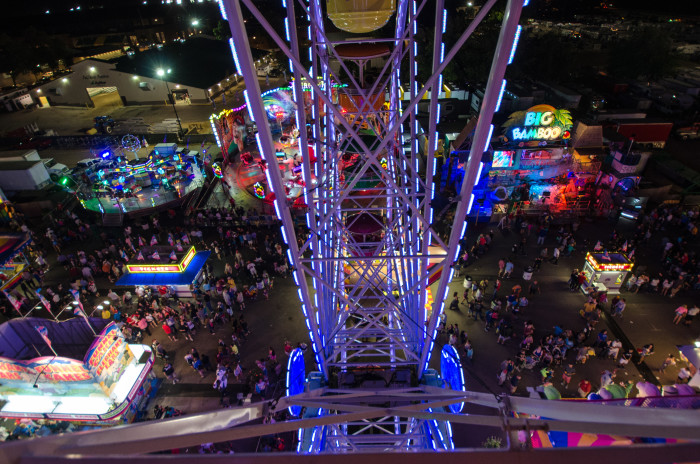 7. The view from the top of the Midway Ferris Wheel is spectacular but might make you sweat a bit.