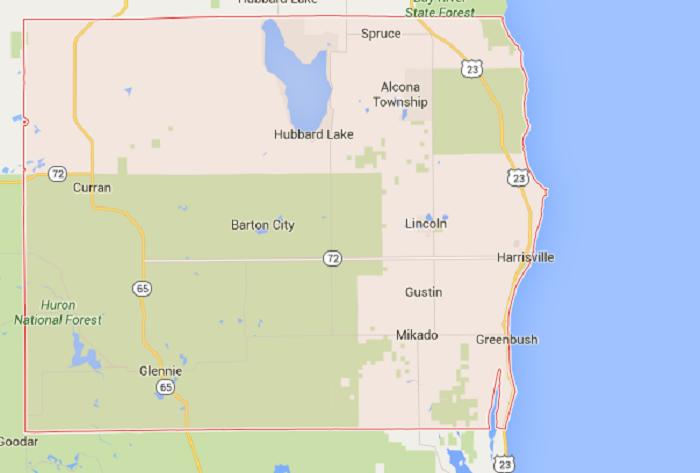 4) Alcona County, 63.05/10,000 residents