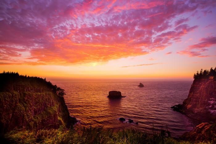 10) Sunset On Coastal Cliffs