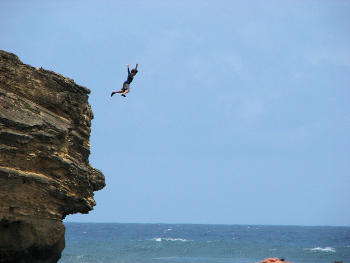 7) For adrenaline junkies, cliff jumping from this point at Kauai's Shipwreck beach is a rush. For others, it may feel like a death sentence.