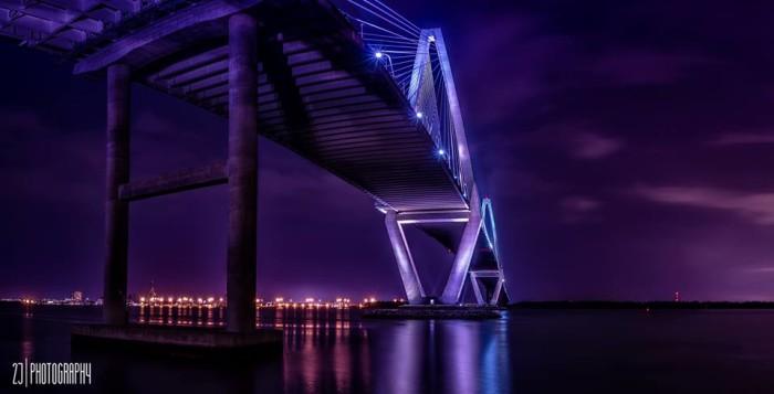 "7. Jeffrey Johnson took this gorgeous ""purple"" photo of the Ravenel Bridge."