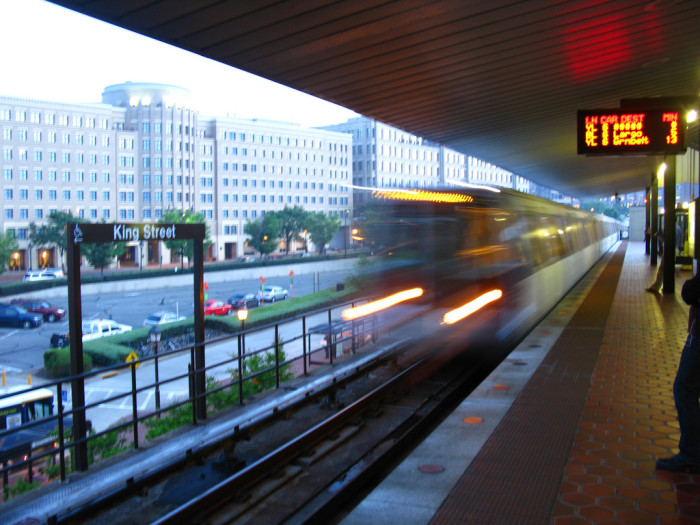 12. Train in motion at the King Street station in Alexandria.