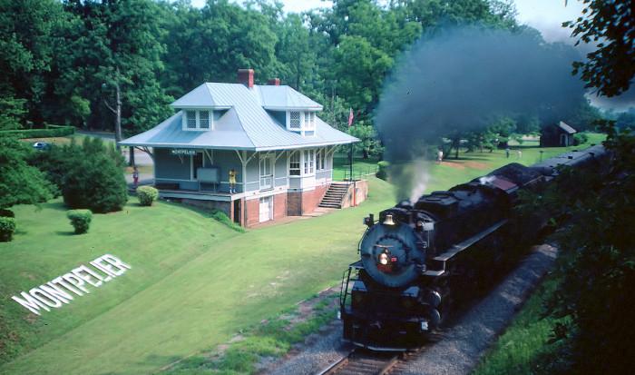 14. Vintage excursion train through Montpelier.