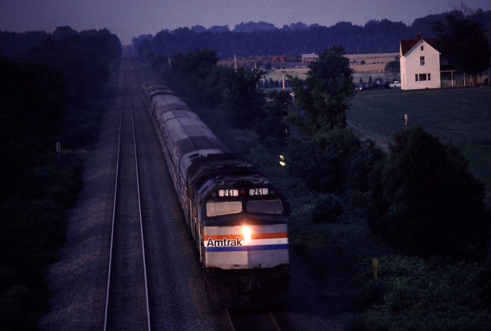 2. A passenger train makes it way through the night just outside of Washington, D.C.
